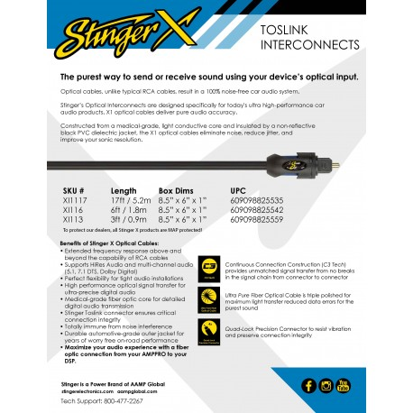Stinger X Toslink One sheet