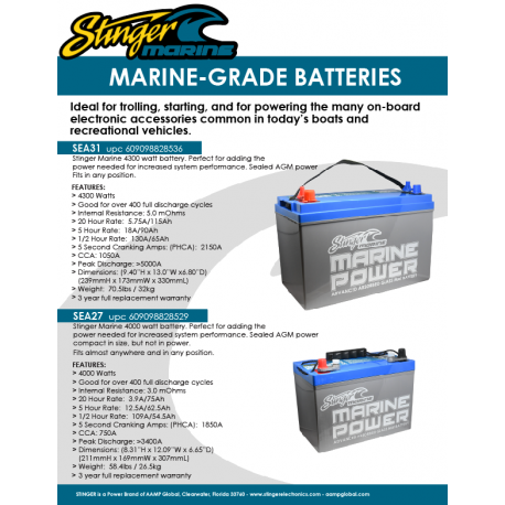 Stinger Marine Batteries SEA27 SEA31